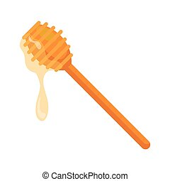 honey dipper stick with dripping honey, on white background