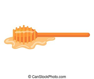 honey dipper stick with honey, on white background