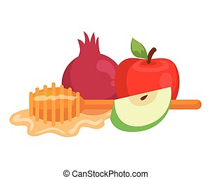 honey dipper stick with pomegranate and apples, on white background
