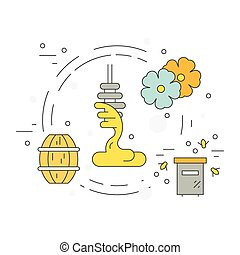 Honey Dipper - Vector illustration of a dipper with honey...