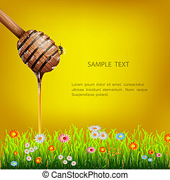 Honey dipper with bee and green grass with flowers