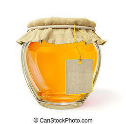 honey - bright honey in a glass jar isolated on white