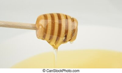 Honey drip from wood dipper on white background