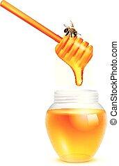 Honey Dripping In Glass Jar