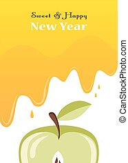 honey drips over an apple. Rosh hashanah card