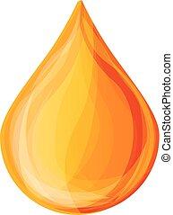Honey drop icon, cartoon style