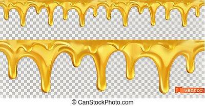 Honey drop seamless. 3d vector