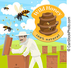 Honey farm poster with male beekeeper at apiary