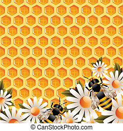 Textured vector floral honey background with flowers and working bees around.