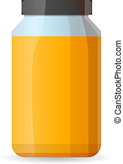Honey glass jar icon, cartoon style