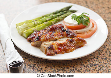 Honey Glazed Chicken - Honey glazed chicken with asparagus...