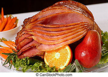 Honey glazed Easter ham with fruit and carrots - A spiral ...