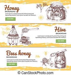 Honey Hand Drawn Banners Set