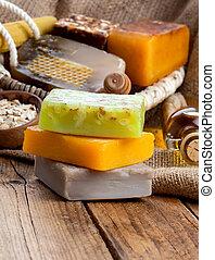 honey handmade soap, on wooden background