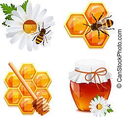 Honey icons set - Honey food decorative icons set with daisy...