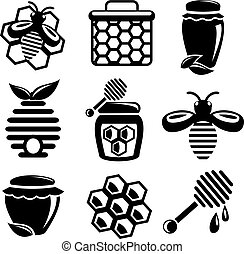 Honey icons set - Honey bee hive and cell food agriculture...