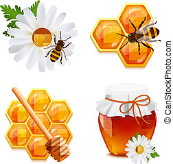 Honey icons set - Honey food decorative icons set with daisy...