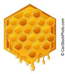 Honey - illustration of honeycomb with flwing honey ,...