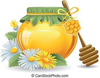Honey with a wooden stick and daisies. Vector.