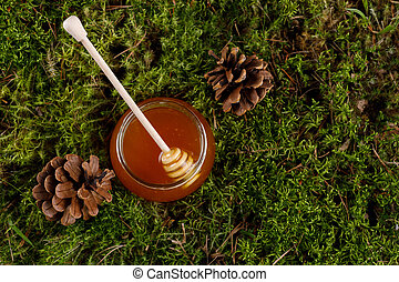 Honey in a glass jar with a wooden honey stick on a background of forest moss.