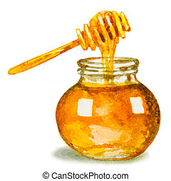 honey in glass jar and a dipper. watercolor vector illustration