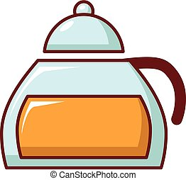 Honey in glass jar icon, cartoon style