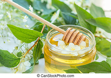 Honey in glass jars