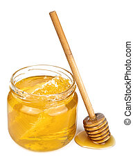 honey in jar isolated