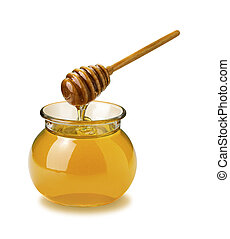 A photo of a single jar of honey isolated on a white background