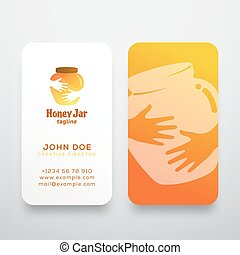 Honey Jar Abstract Vector Sign, Symbol or Logo Template and Business Card. Creative Stationary Layout. Colorful Pot in Hands Negative Space Concept.