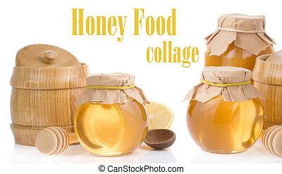honey jar and pot isolated on white