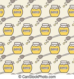 Honey jar and spoon. Hand-drawn seamless cartoon pattern with honey jars and spoons. Vector illustration.