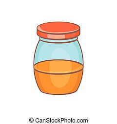 Honey jar icon, cartoon style