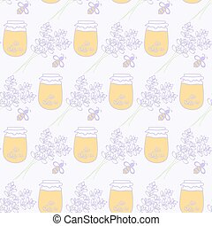 Honey jar, lavenderand bee. Hand-drawn seamless cartoon pattern with honey pot, bee and lavender bouquet. Vector illustration.