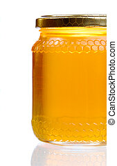 Honey Jar - Jar Of Golden Light Honey With Glass Reflection