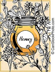 Honey jar surrounded with herbs and flowers