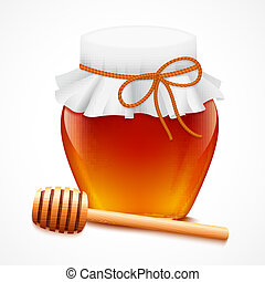 Honey jar with dipper emblem - Sweet natural bee honey in...
