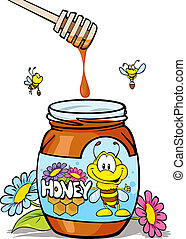 honey jar with wooden