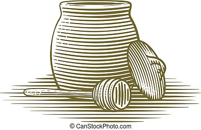 Honey Jar - Woodcut illustration of a honey jar.