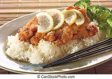Honey lemon seafood.