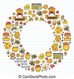 Honey market, bazaar, honey fair Doodle images of bees,...