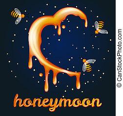 Honey moon concept. Heartshaped halfmoon made of honey