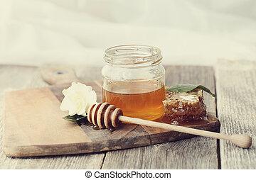 Honey - Natural food. Delicious honey in a jar