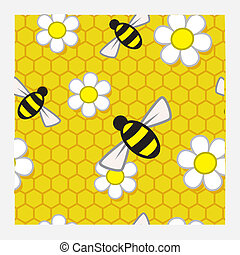 A repeat pattern of bees and flowers over a honeycomb background.