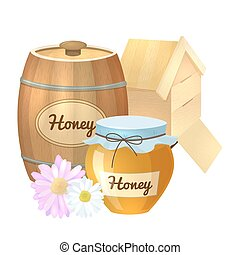 Colorful cartoon illustration of honey pot, organic nature product. Vector