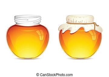 Honey Pot - illustration of glass pot full of honey tied...
