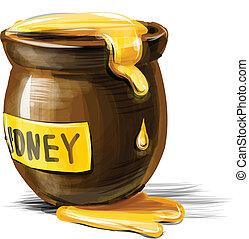 Honey pot isolated on white background. Vector illustration