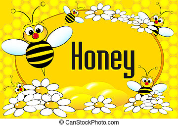 Honey pot label or brochure - Honey label with bees, flowers...