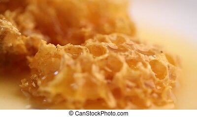 Honey pouring on honey comb shooting with high speed camera.