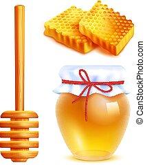 Honey Realistic Icons Set